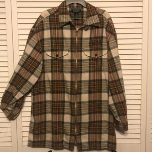 Lauren Ralph Lauren Zip Up Plaid Flannel Shirt